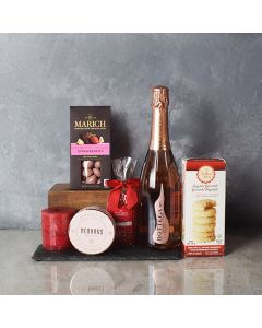 Bubbly & Sweet Valentine's Gift Basket, champagne gift baskets, chocolate gift baskets, Valentine's Day gifts, gift baskets, romance