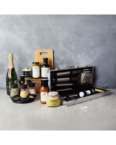 Zesty Barbeque Grill Gift Set with Champagne, gift baskets, gourmet gifts, gifts