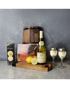 Smoked Salmon & Citrus Gift Basket with Wine, gift baskets, gourmet gifts, gifts