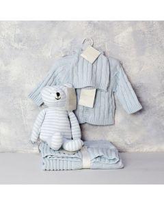ELEGANT BOY BUNNY TOY GIFT SET, baby boy gift hamper, newborns, new parents