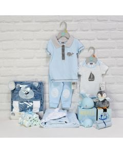 GIFT SET WITH MULTIPLE GIFTS FOR THE BABY BOY, baby boy gift hamper, newborns, new parents