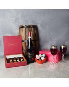 Rouge Hill Valentine's Day Wine Basket, wine gift baskets, floral gift baskets, Valentine's Day gifts, gift baskets, romance