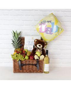 Newborn Essentials Gift Basket with Wine, baby gift baskets, wine gift baskets