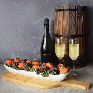 Champagne & Chocolate Strawberries Gift Basket Vermont